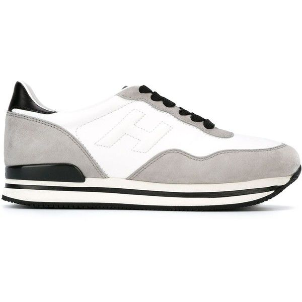 Hogan H222 Sneakers found on Polyvore featuring polyvore, fashion, shoes, sneakers, white, white shoes, real leather shoes, leather sneakers, white leather sneakers and leather shoes