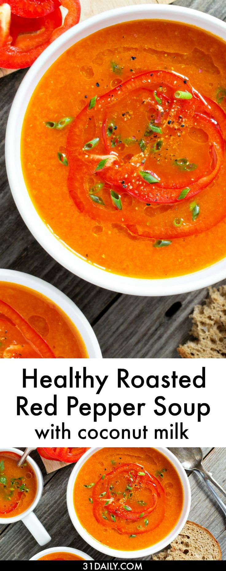 Healthy Tomato and Roasted Red Pepper Soup with Coconut Milk | 31Daily.com