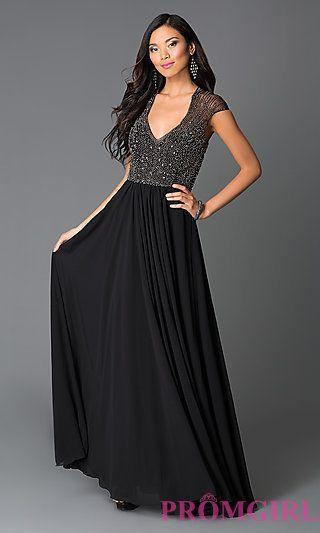 Black Long Beaded Illusion Back Cap Sleeve at PromGirl.com