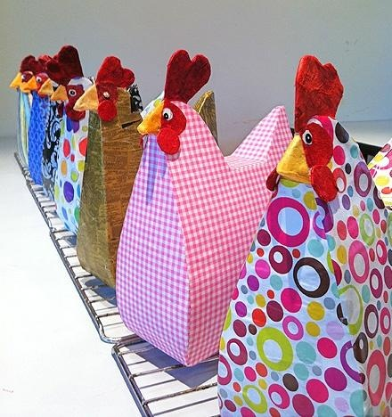 Make a paper hen out of a cereal box, website has instructions