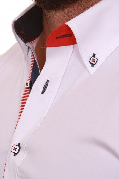 White Claudio Lugli Multicoloured Trim Shirt 1