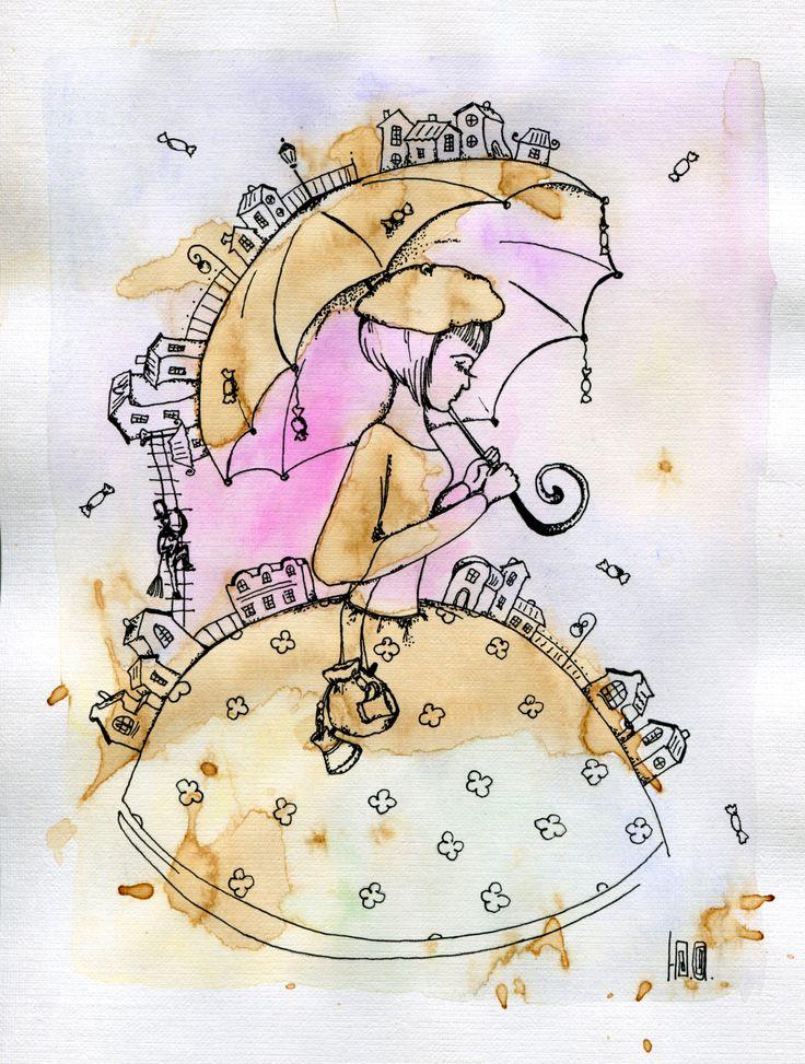 "Coffee improvisation. The effective coffee blots. ""The coffee lady"" Coffee, ballpoint pen, watercolor #кофейная_живопись #барышня #город #кофе #зонтик #мечта author - Yulia Dotsenko"