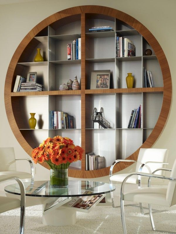 Stunning Midcentury Bookcase within the Modern Design mid century modern  round bookcase faced white living room seating area with round glass table