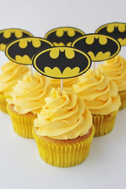 Bright yellow Batman cupcakes