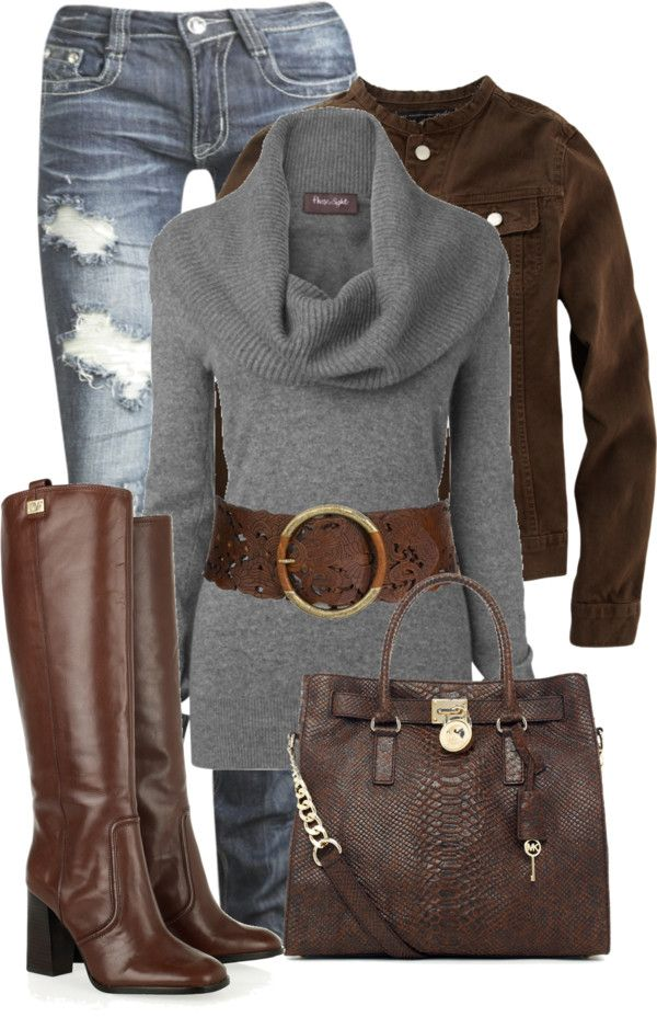 Skinny Jeans, Gray Sweater, Brown Belt, Brown Boots, Brown Purse, Brown Jacket
