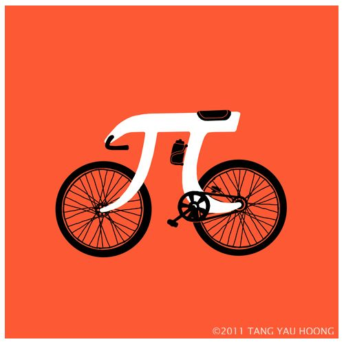 """PI-cycle"" Eat some pie, then ride your bike to a distantly non repeating decimal dewy destination."