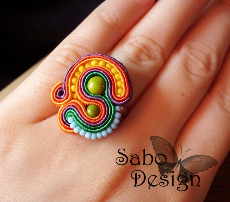 MEXICO soutache embroidery ring handmade in red, orange, violet and green, summer fashion jewelry, TOHO beads, ooak.. via Etsy.