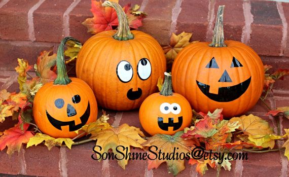 Cute Pumpkin Face Vinyl Decals for your fall pumpkins. Set of 4 Various Sizes by sonshinestudios@etsy.com