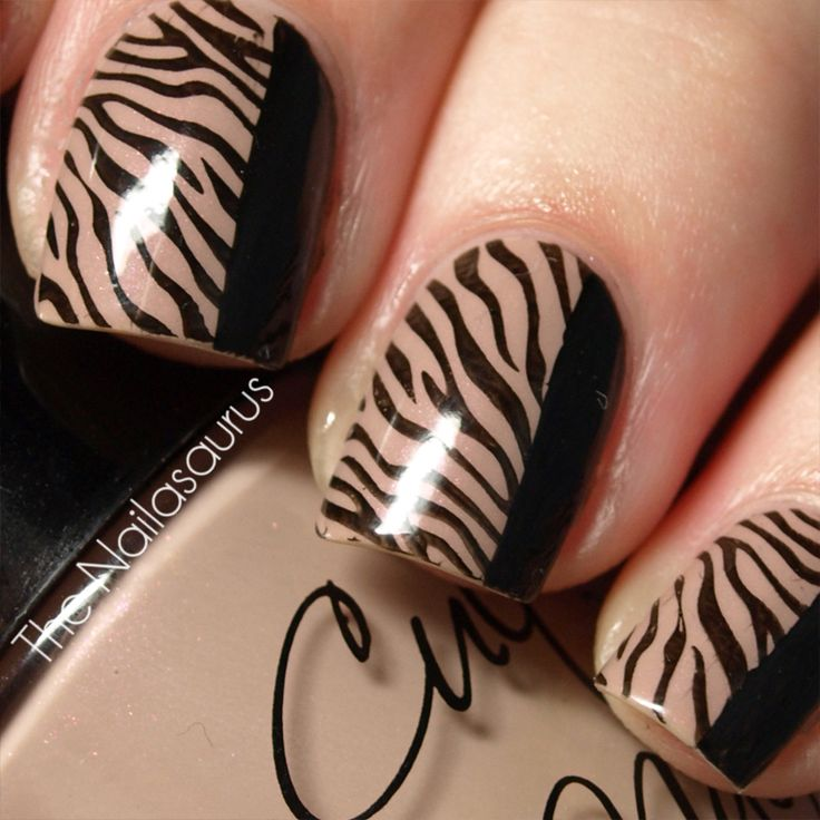 Plate: Bundle Monster BM223 + Base Colour: Cult Nails - Cruisin' Nude + Stamp Colour: W7 - Black + Top Coat of NYC