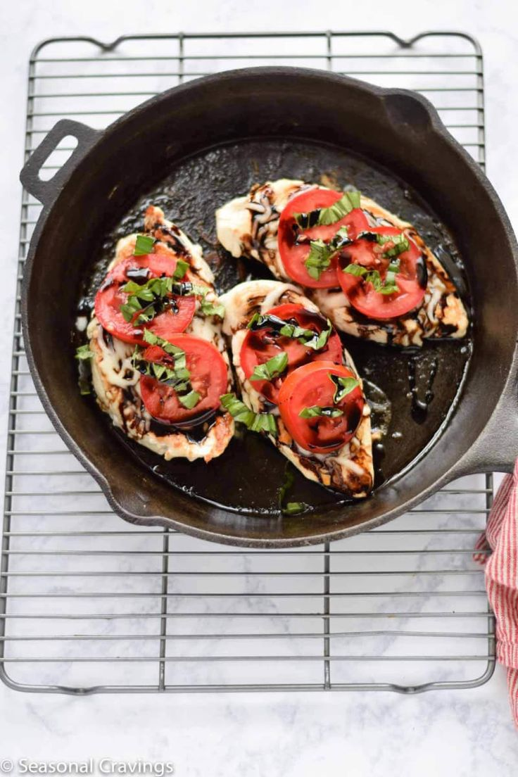 Chicken breasts + tomatoes + mozzarella + balsamic + basil.Recipe here.