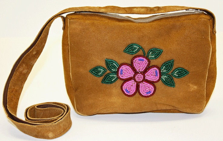 Caribou Hide Purse with floral bead work. Tlicho Online Store