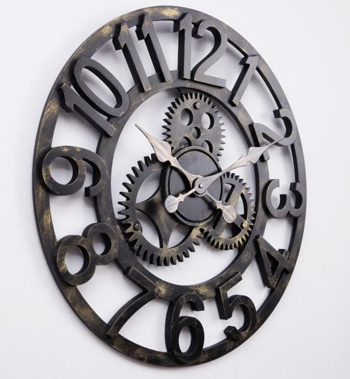 58cm oversized large decorative vintage retro art luxury gears wall clock US $59.00