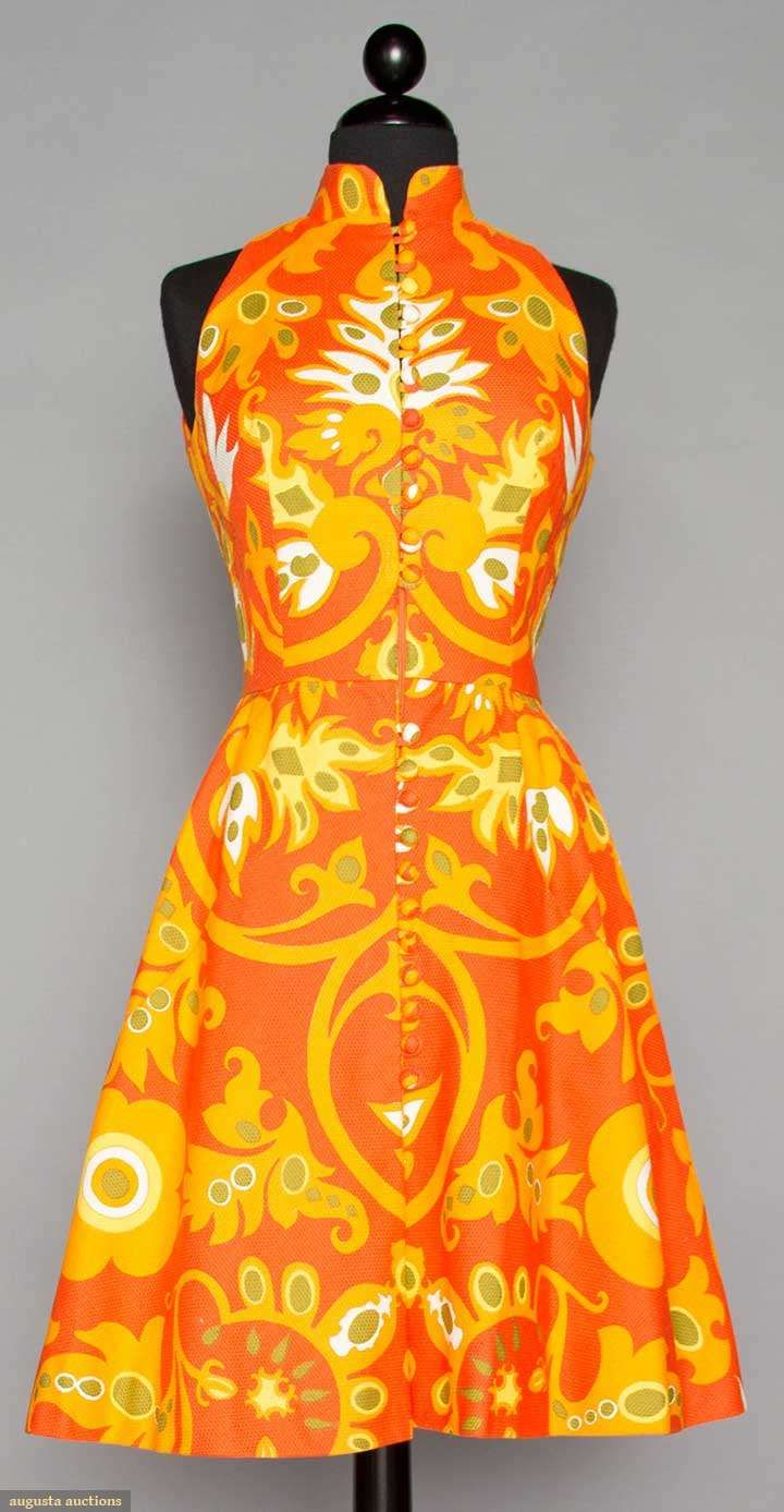 GEOFFREY BEENE ORANGE PRINT DRESS, 1970