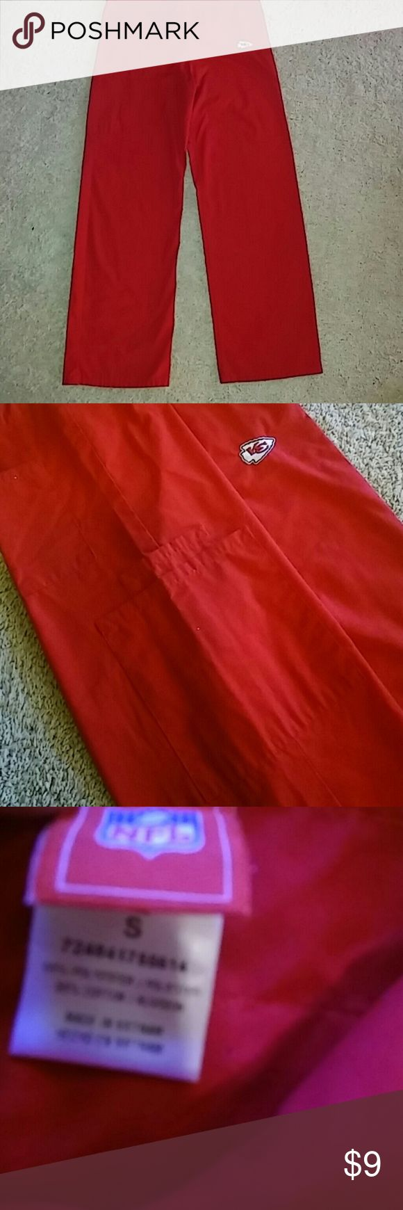 KC Cheifs Nursing Scrub Bottons KC Cheifs Scrub bottoms. Draw string closure. 2 side pockets 1 back pocket. Red size small. Great Condition. Pet free smoke free home. NFL Other