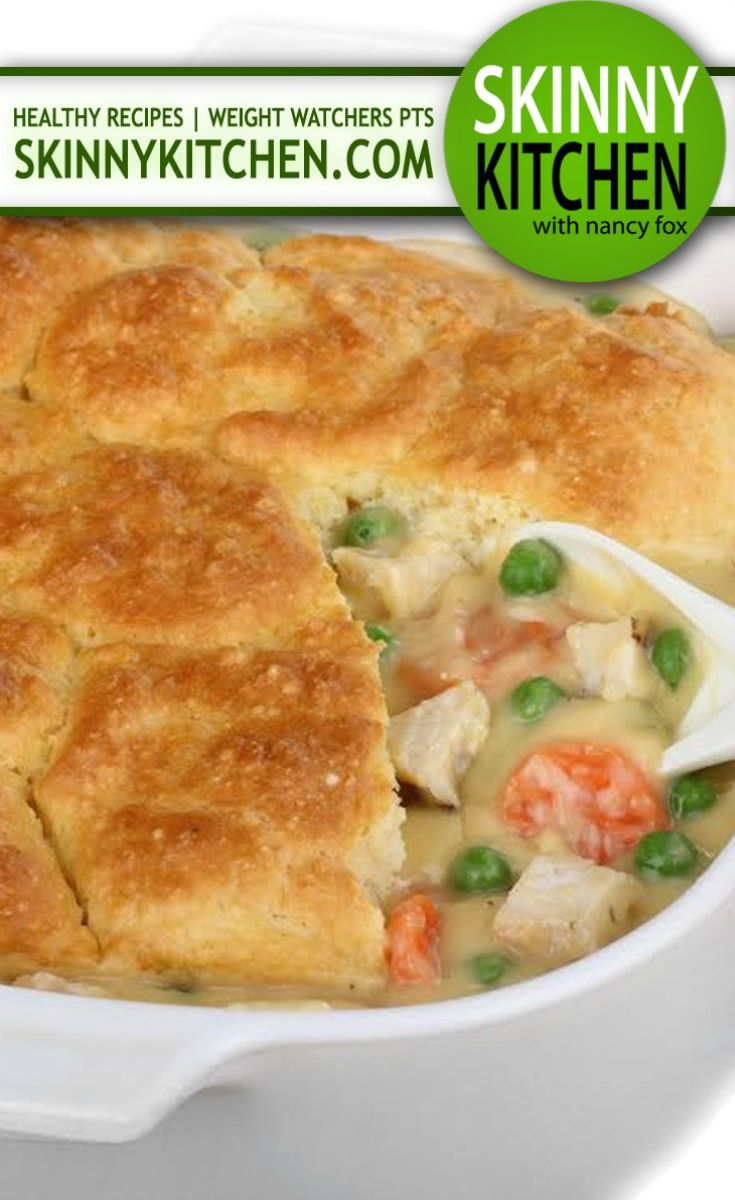 Chicken Pot Pie, Skinny-fied! Enjoy this fabulous, comfort food classic, guilt-free! Each  serving has only 266 calories, 6g of fat and 7 Weight Watchers POINTS PLUS! http://www.skinnykitchen.com/recipes/chicken-pot-pie/