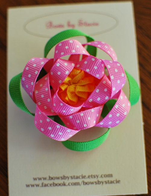 Loopy Flower Hair Bow by bowsbystacie on Etsy, $6.95