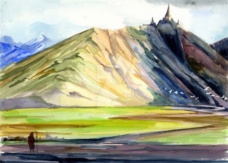 Lonely mountain 2- watercolour version by art-ori.deviantart.com on @DeviantArt