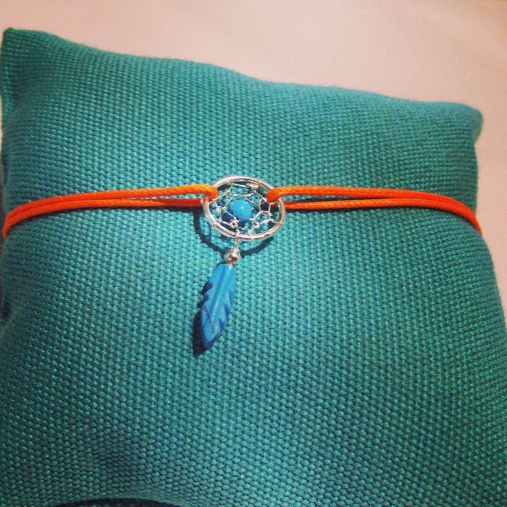Pendentif attrape rêve  argent et turquoise sur lien nylon