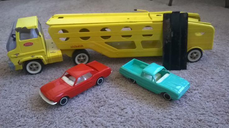 Vintage Tonka Car Carrier Hauler Yellow Pressed Metal with Cars & Ramp #Tonka