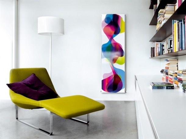 Kleurrijke radiator. Deze radiator Therme is een ontwerp van Karim Rashid