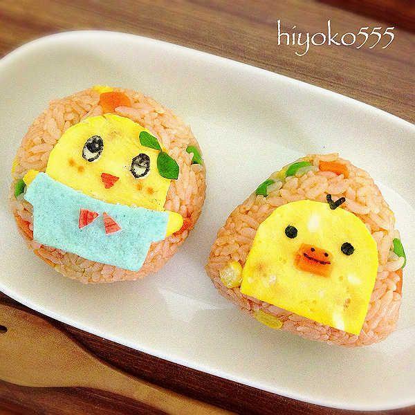 funasshi and kiiroitori chicken rice onigiri