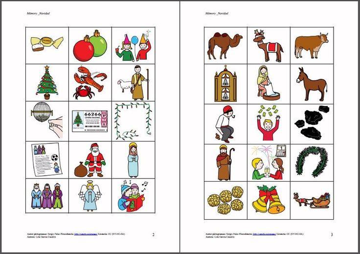 MATERIALES - Navidad: memory.  Partiendo del tema de la Navidad, se presentan una serie de propuestas para estas fechas y trabajar lúdicamente vocabulario, atención, villancicos, motricidad fina, lectoescritura, memoria visual y auditiva, expresión oral…   http://arasaac.org/materiales.php?id_material=619