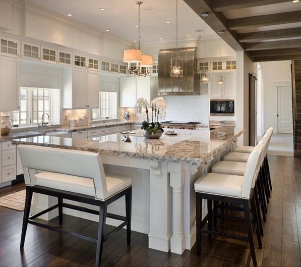 Best 25 kitchen island seating ideas on pinterest for Big island kitchen design