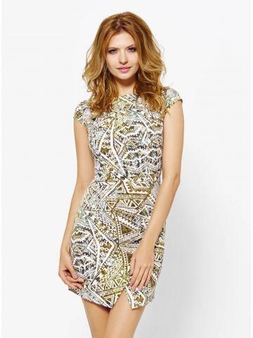 Sukienka Melanie we wzór w kolorze khaki