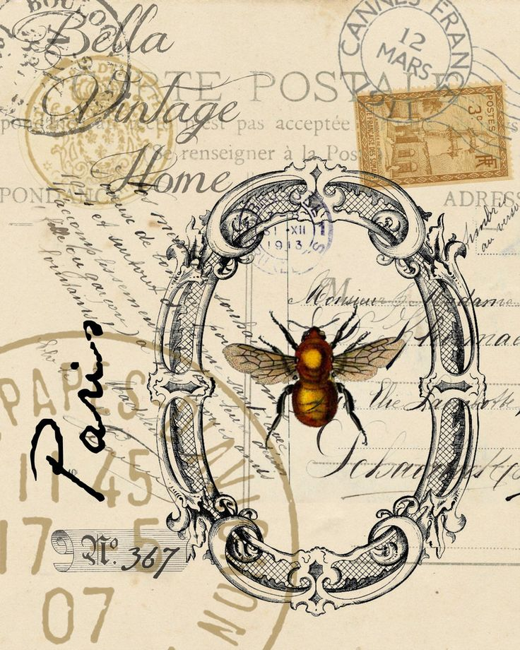 Original artwork created from vintage bookplates, etchings & papers. Printed…