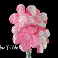 instructions to making a paper baby diaper   How to Make a Washcloth Flower Bouquet Video Instructions