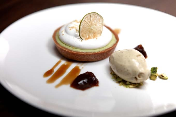 Kaffir Lime Tart, Coffee and Pistachio from tenpenny, NYC.