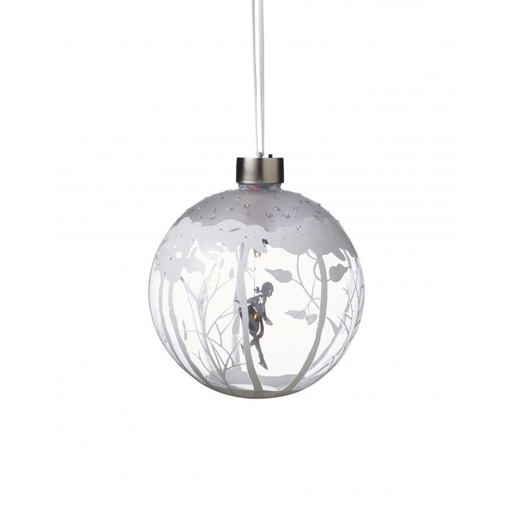 Glass bauble with Skating girl & LED light, Large