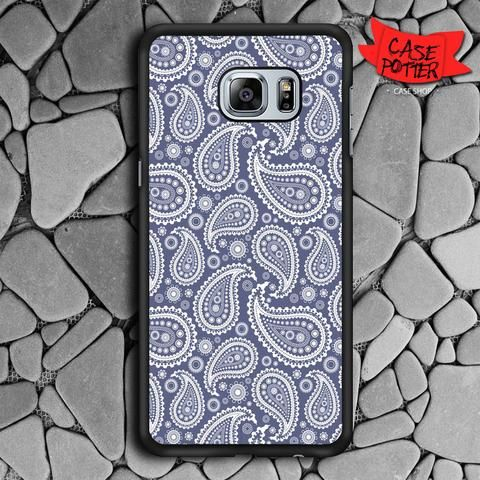 Blue Paisley Samsung Galaxy S6 Edge Plus Black Case