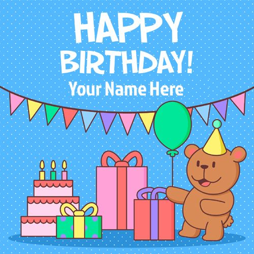 Coloured Birthday Celebration Greeting Card With Name