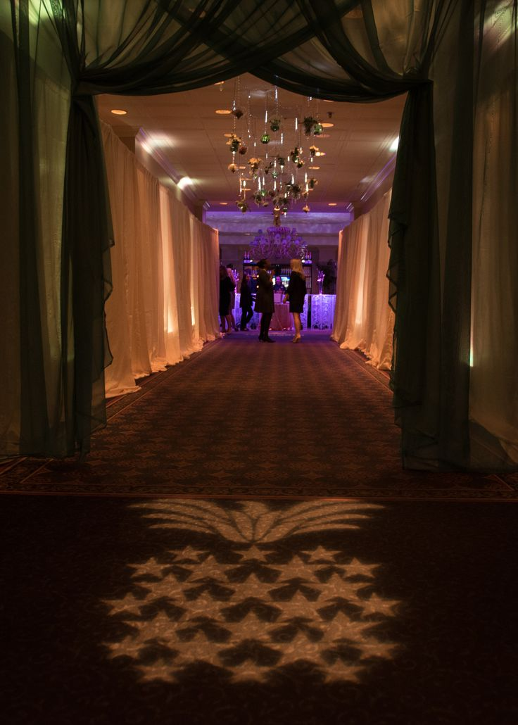 Event Entrance | GOBO Lighting | Event Drapery | Hanging Crystals & Terrariums | 2016 Hospitality Gala | Auburn, Alabama | College of Human Sciences at Auburn University | Hotel & Restaurant Management Program