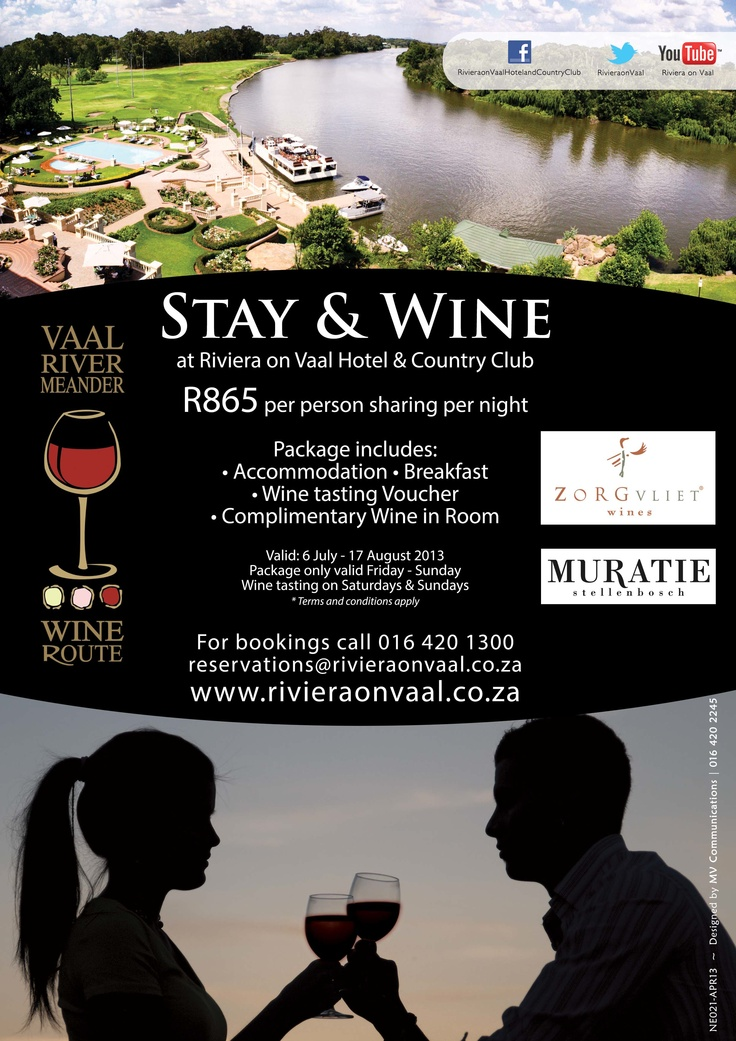 The Riviera on Vaal Hotel & Country Club has joined in on the 10th anniversary of the Vaal Triangle's Vaal Meander Wine Route this year. http://www.n3gateway.com/n3blog/15/Vaal-Wine-Route.htm