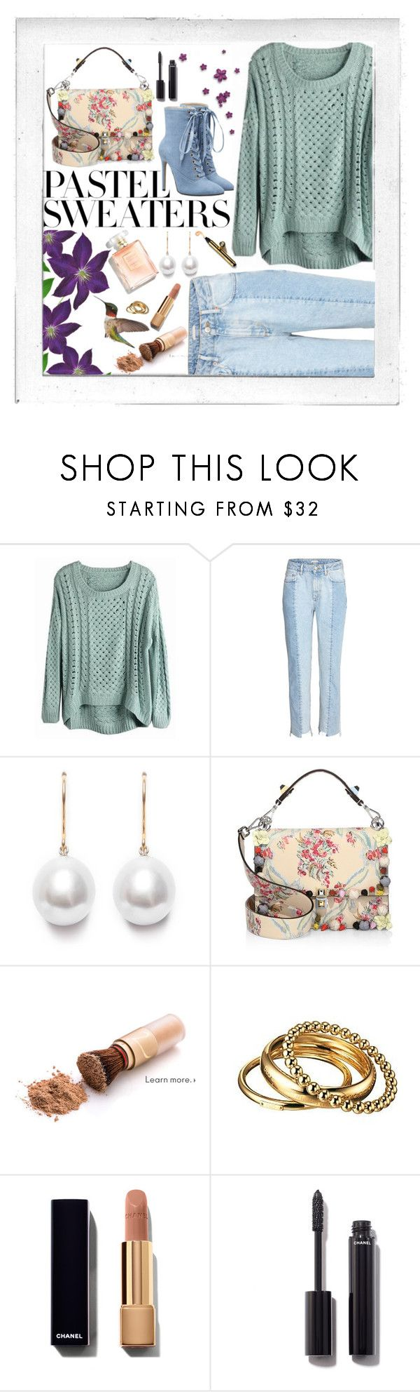 """""""Mint Sweater"""" by carlagoiata ❤ liked on Polyvore featuring Polaroid, Fendi, D&G, Chanel and pastelsweaters"""