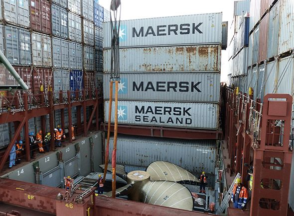 YOWSA!    Maersk Line's Ginormous Triple-E Class Propellers are on their way to Okpo