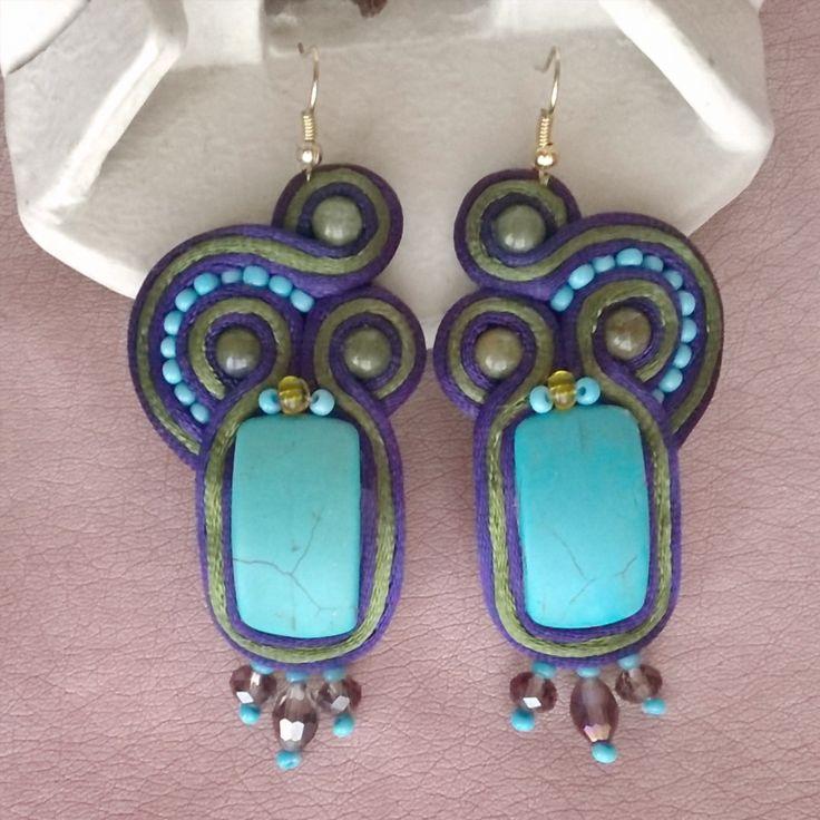 Soutache Turquoise #jaspe #turquesa #turquoise #soutache #bohemian #swarovski #etsy #handmade #hechoamano #hechoenchile #jewelry #chile #boho