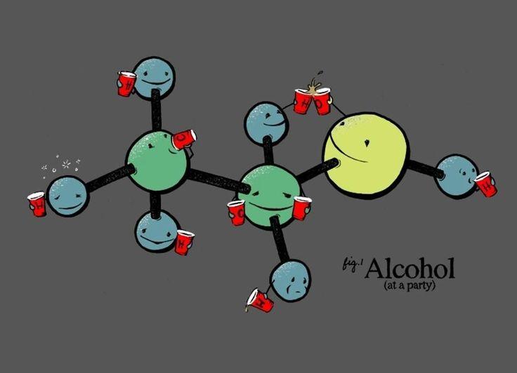 Открытка, смешные рисунки молекулы