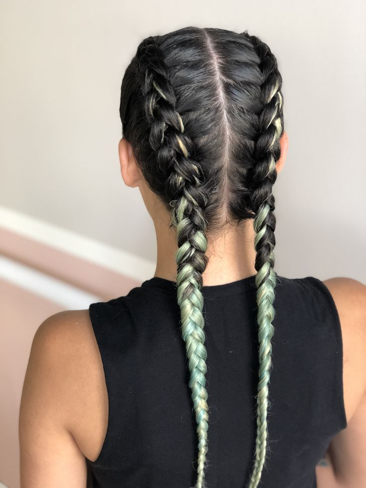 Two french braids hair style on fantasy color hair