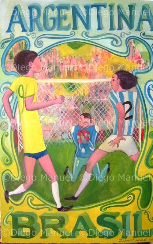 """Argentina - Brasil 2"", clasicos de futbol mundial, acrylic on canvas, 70 x 45 cm. 2009 Price of original painting us$800"