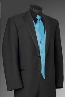 Black tux with black shirts and turquoise ties/vests.... groomsmen