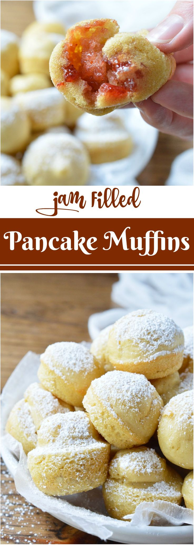 Want pancakes for breakfast without all the flipping? This Baked Dairy Free Pancake Muffins Recipe is super easy to make and great for feeding a hungry crowd! Not only are these pancake bites light and fluffy, they are also filled with strawberry jam! #ad #SilkProteinNutmilk @lovemysilk