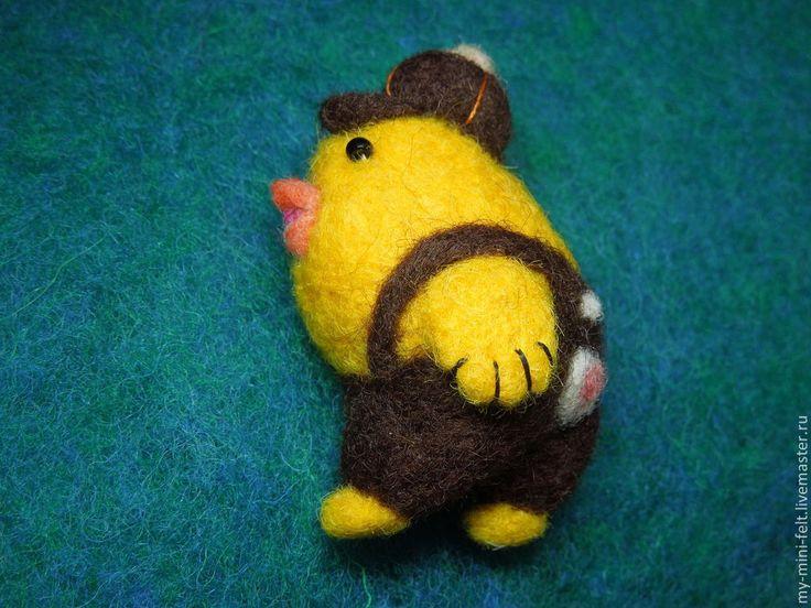 """Купить Брошь детская """"Птенчик"""" (валяная, шерсть) - желтый, птенчик, птичка, птенец, цыпленок"""