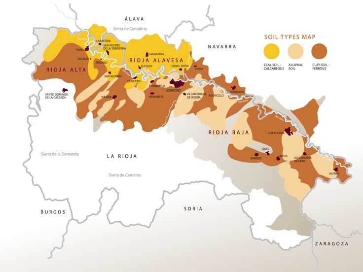 DOCa Rioja Wine Region in Spain - Soil Map of La Rioja To learn more about #Bilbao | #Rioja, click here: http://www.greatwinecapitals.com/capitals/bilbao-rioja