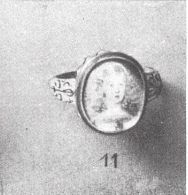 ring with a miniature portrait of Infanta Margarita enameled (misidentified as Claudia Felicitas)  Rings for the Finger p 156