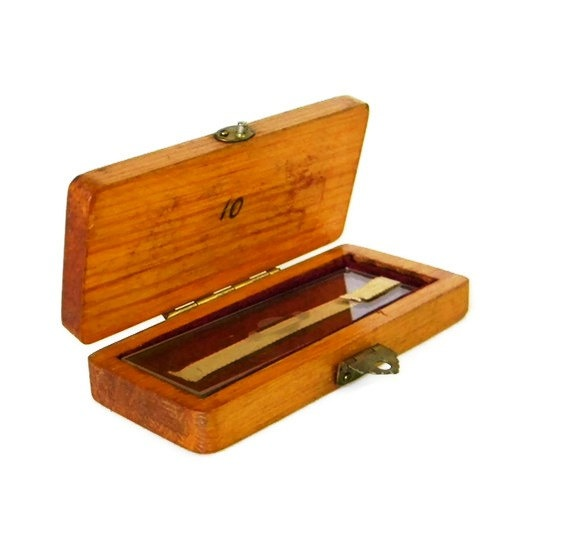 Presentation Microscope Slide in Wooden Box by Mylittlethriftstore, $40.00