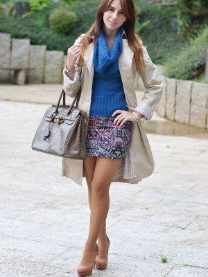 MaPetitebyAna Outfit   Otoño 2013. Combinar Falda Rosa chicle Bershka, Jersey Azul Klein Mango, Bolso Marrón suave Misako, Cómo vestirse y combinar según MaPetitebyAna el 13-11-2013