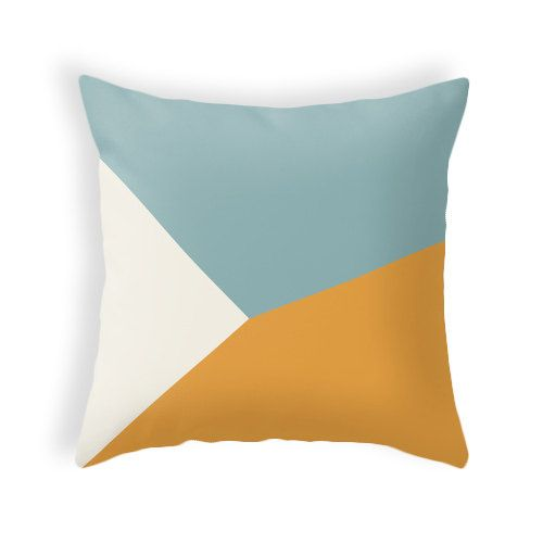 Teal and orange geometric cushion cover teal and by LatteHome